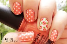 The polka dots go well with the floral China Glaze Mimosa's before Mani's Floral Nail Art Dot Nail Art, Floral Nail Art, Polka Dot Nails, Striped Nails, Polka Dots, Fancy Nails, Trendy Nails, Love Nails, Color Melon