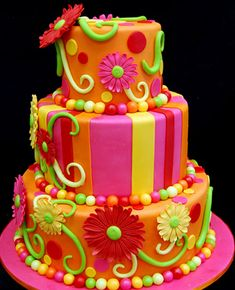 a fabulously decorated neon cake