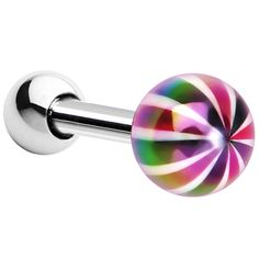 16 Gauge Metallic Rainbow Ball Cartilage Tragus Earring | Body Candy Body Jewelry #bodycandyloves