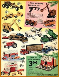 Vintage shots from days gone by! Christmas Catalogs, Christmas Toys, Vintage Christmas, Toy Catalogs, Tonka Toys, Retro Advertising, Metal Toys, Toy Trucks, Classic Toys