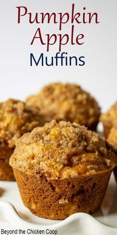 Delicious pumpkin muffin made with pumpkin puree and apples and topped with a streusel topping. Delicious muffin made with pumpkin puree and shredded apples Best Pumpkin Muffins, Pumpkin Chocolate Chip Muffins, Pumpkin Bread, Pumpkin Cookies, Chip Cookies, Pumpkin Puree Recipes, Apple Recipes, Baking Recipes, Dessert Recipes