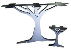 Metal Base Dining Table, Metal Table Legs, Wood Tables, Industrial Table Legs, Gold Furniture, Furniture Projects, Plasma Table, Metal Art Projects, Tree Table