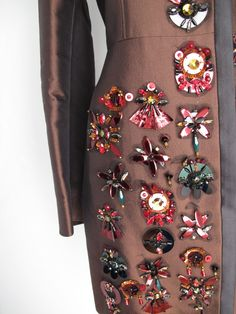 2005 Prada Coat w/Jeweled, Sequined & Tulle-Backed Appliques | From a collection of rare vintage coats and outerwear at http://www.1stdibs.com/fashion/clothing/coats-outerwear/