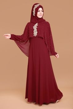 Boncuk İşli Seyyar Pelerinli Abiye Bordo, Beaded Embroidered Evening Cape Bordeaux, to # the Modest Long Dresses, Short Lace Dress, Long Bridesmaid Dresses, Elegant Dresses, Nice Dresses, Islamic Fashion, Muslim Fashion, Abaya Designs, Hijab Style