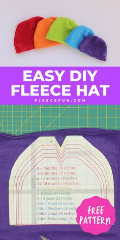 I love this easy basic fleece hat tutorial. I love the free pattern that comes with it. Perfect fleece sewing project. This winter hat comes in sizes baby to adult. Perfect sewing pattern for the whole family. #fleecehatspatternsfree #fleecehatdiy #fleecehattutorial #sewingproject #fleecehatpatternkids #fleecehatpatternsforwomenfree Sewing Patterns Free, Baby Patterns, Free Sewing, Free Pattern, Fleece Tie Blankets, Fleece Hats, Fleece Projects, Easy Sewing Projects, Fleece Hat Pattern