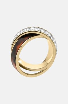 Michael Kors 'Modernist Glitz' Baguette Crystal Intertwined Ring | Nordstrom