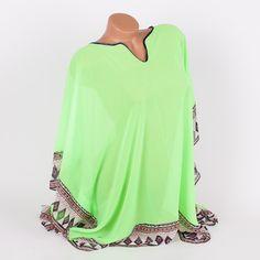 Туника за плаж в неоново зелен цвят с красиви фигури