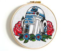 R2D2 cross stitch pattern Star Wars cross stitch PDF Flower