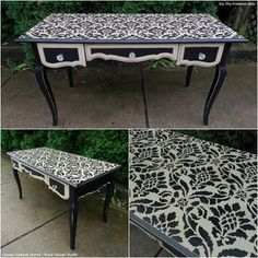 Classic Damask Stencil dresses up a tabletop! Project by Jessie from The Primitive Attic.