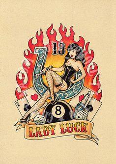 T13. LADY LUCK. horseshoe 8 spark plug Flash tattoo. por Retrocrix