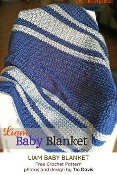 Liam Baby Blanket - free I think you'll enjoy crocheting my new pattern! Liam Baby Blanket - free I think you'll enjoy crocheting my new pattern! Crochet Afghans, Boy Crochet Patterns, Striped Crochet Blanket, Crochet Baby Blanket Free Pattern, Baby Afghans, Crochet Blankets, Knitting Patterns, Simple Crochet Blanket, Crochet For Boys