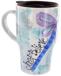 Just Believe Dragonfly Travel Mug at The Autism Site. $19.95, Funds 6.6% of an hour of research and therapy for children with autism.