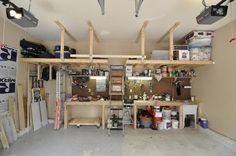 overhead garage storage ideas pull down stairs ideas garage organization tips ideas