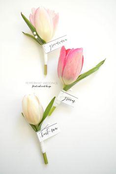 Pastel tulip boutonniere. Pastel Love!   Peppermint Weddings