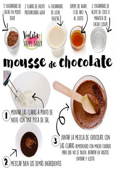 Mousse de Chocolate súper chocolateado. Sin azúcar blanco, sin lactosa y sin refinados  #mousse #moussedechocolate #sinlactosa #sinazúcar Healthy Deserts, Healthy Sweets, Healthy Snacks, Köstliche Desserts, Delicious Desserts, Yummy Food, Sweet Recipes, Real Food Recipes, Snack Recipes