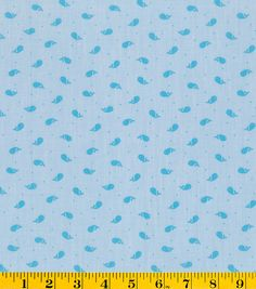 Summerville Chambray Fabric-Teal Whales