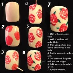 Rose nail tutorial for a wedding!  http://thekericonfessionals.wordpress.com/2014/07/15/tutorial-tuesdays-floral-wedding-nails/