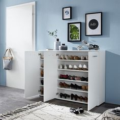 Casey modern shoe storage cabinet in white with 3 doors, will add a charming tone to your home decor and will give many years of great use. Shoe Storage Cabinet With Doors, Shoe Cabinet Design, Wooden Shoe Cabinet, Hallway Shoe Storage, Living Room Storage, Stair Storage, Cabinet Decor, Door Furniture, Apartment Furniture