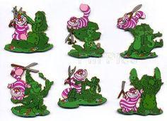 Disney Auctions - Cheshire Cat Topiaries Set LE 100 Disney Pins VERY RARE | eBay ($1,500)