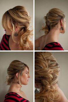 Messy Twist & Pin side ponytail by leah