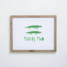 A Noahs Arc inspired 'Two By Two' Crocodile #NurseryPrint