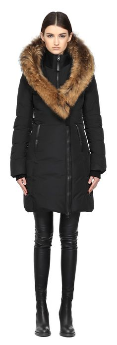 KAY-F5   LONG BLACK WINTER DOWN COAT WITH FUR HOOD FOR WOMEN   MACKAGE