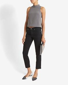 Exclusive for Intermix Kate Sleeveless Mock Neck Top: Grey