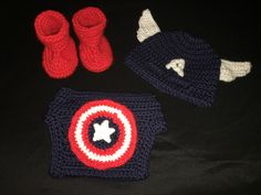 Thank you Repeat Crafter Me, Busting Stitches, and Butterfly's Craft Creations for the patterns used to create these crocheted items! I can't believe I was able to do this! :) http://www.repeatcrafterme.com/2012/10/crochet-cuffed-baby-booties-pattern.html?m=1 http://www.bustingstitches.com/2012/10/unfuzzys-giraffe-hat-and-diaper-cover-set.html http://butterflyscraftcreations.blogspot.com/2013/09/masked-beanies-batman-version-2-captain.html?m=1