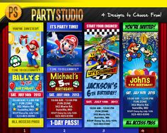 Cute custom birthday invitations for kids!!!  Super Mario Birthday Party Ticket (Customizable Printable Invitations)