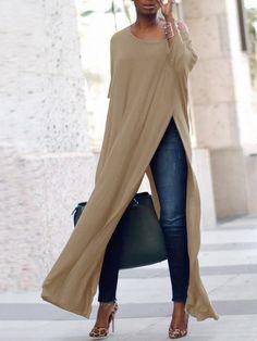 Stylish Solid High Slit Casual Blouse (S - Diy Crafts - hadido Look Fashion, Autumn Fashion, Womens Fashion, Fashion Trends, Ladies Fashion, Fashion Ideas, Feminine Fashion, Fashion Spring, Fashion Advice