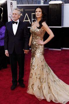 2013 - The Oscars - 85th Academy Awards - Michael Douglas and Catrine Zeta Jones wore Zuhair Murad