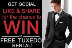 WIN a Free Tuxedo Rental!  Like and Share and be automatically entered to win!  https://www.facebook.com/tuxedojunctionusa