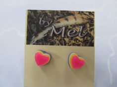 I just listed small rainbow layered heart resin post earrings on The CraftStar @TheCraftStar #uniquegifts