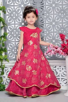 Cherry Red Color Thai Silk Hand Work Party Wear Gown For Kids Product Details : Show off your kid's feminine side with this elegant cherry red color party wear gown. Crafted of thai silk fabric this beautiful gown comes with santoon inner. This gown Party Wear Gown Images, Kids Party Wear Dresses, Gown Party Wear, Gowns For Girls, Frocks For Girls, Dresses Kids Girl, Kids Outfits, Kids Party Frocks, Kids Frocks