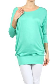 3/4 Dolman Sleeve Tunic Top W/ Ruched Sideseams