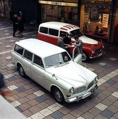 Volvo Amazon wagon with PV 544 wagon in background