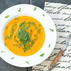 Carrot Soup with Carrot Top Garlic Pesto