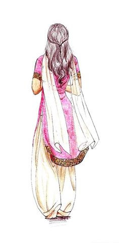 I love this sketch.  I love sketches, I love Indian dresses and I always wear my hair this way.  3 fold favoritism right here.