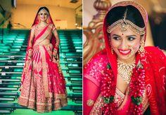 Hot Pink lehenga with intricate Gold thread work by Sabyasachi for Priyanka Mehra, Real Bride of WeddingSutra.