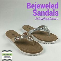 NEW ARRIVAL: These are not your every day flip-flops! Cushioned sole, soft inside, available in silver or gold with bling on top! A must-have for spring and summer. Stick in your purse to have on hand for a last minute trip to the beach. #shoes #shoehau