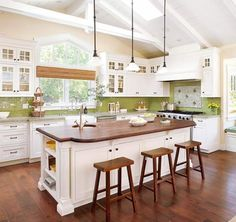 Green tile backsplash