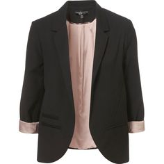 Petite Blazer ($130) ❤ liked on Polyvore featuring outerwear, jackets, blazers, coats, tops, black, petite jackets, petite black jacket, topshop blazer and black jacket