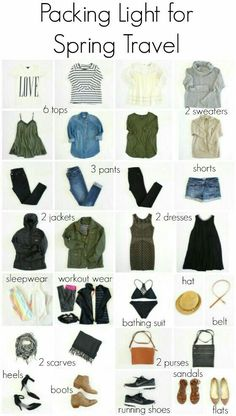 packing light for spring international travel (The Pleated Poppy) – european travel outfit summer Packing For Europe, Packing List For Travel, Travel Tips, Travel Hacks, Travel Essentials, Travel Packing Outfits, Weekend Packing, Vacation Travel, Travel Packing Light