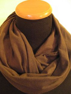 Dark Brown Jersey Knit Infinity Scarf-  FREE SHIPPING, solid color, scarf,  knit, circle scarf, winter, fall Christmas #handmade #etsyretwt