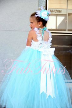 Tiffany Blue Flower Girl Dress, Any Size Available, Multiple Options for the Bodice Style. $139.00, via Etsy.
