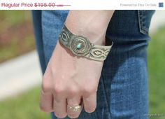 33% OFF $130.65 Concho, Bracelet, Sterling Silver, Turquoise, Navajo, Cuff, Boho, Stacking, Vintage Jewelry, Gypsy