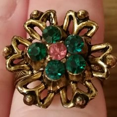 Ring gold tone with green and pink rhinestone
