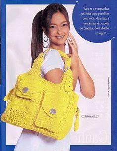 Crochê da Mag: Bolsa de crochê. 2 diagrams to follow. ☀CQ #crochet #bags #totes http://www.pinterest.com/CoronaQueen/crochet-bags-totes-purses-cases-etc-corona/