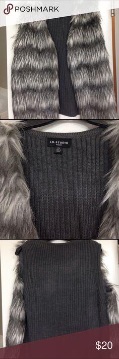 Faux fur sweater vest Women's faux fur sweater vest in grey and white--never worn! Jackets & Coats Vests
