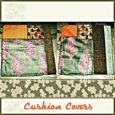 """TITLE : Silk Ambi. MEDIUM : Motif work and Acrylic on cloth and composite leather. SIZE : 16"""" ×16"""" #MeghnaCreations #creations #cushioncovers #square #mangodesign #silk #ambi #acrylics #glitter #inks #onleather #fabric #used #darkbrown #corduroy #grey #orange #matkasilk #artsy #home #styling #strew #these #ambienceart #gifts #gifting #mumbai #pintrest"""